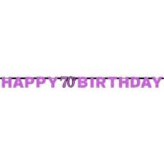 70th Birthday Pink Celebration Prismatic Letter Banner 2.13m x 17cm