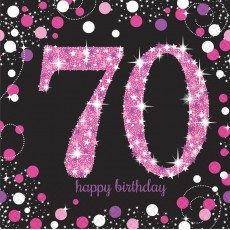70th Birthday Pink Celebration Lunch Napkins 33cm x 33cm Pack of 16