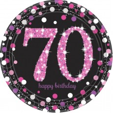 70th Birthday Pink Celebration Prismatic Dinner Plates