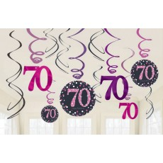 70th Birthday Pink Celebration Swirl Hanging Decorations Pack of 12