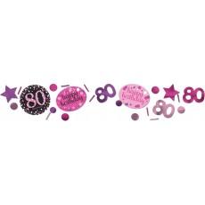 80th Birthday Pink Celebration Confetti 34g