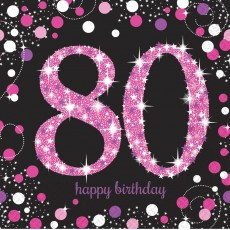 80th Birthday Pink Celebration Lunch Napkins 33cm x 33cm Pack of 16