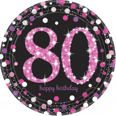 80th Birthday Pink Celebration Prismatic Dinner Plates
