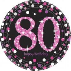 Round 80th Birthday Pink Celebration Prismatic Dinner Plates 23cm Pack of 8
