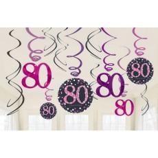 80th Birthday Pink Celebration Swirl Hanging Decorations Pack of 12