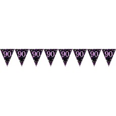 90th Birthday Pink Celebration Prismatic Pennant Banner