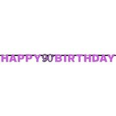 90th Birthday Pink Celebration Prismatic Letter Banner 2.13m x 17cm
