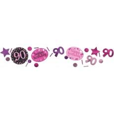 90th Birthday Pink Celebration Confetti
