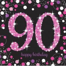 90th Birthday Pink Celebration Lunch Napkins