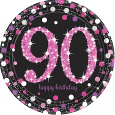 90th Birthday Pink Celebration Prismatic Dinner Plates