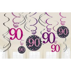 90th Birthday Pink Celebration Swirl Hanging Decorations Pack of 12