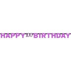 100th Birthday Pink Celebration Prismatic Letter Banner 2.13m x 17cm