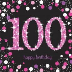 100th Birthday Pink Celebration Lunch Napkins 33cm x 33cm Pack of 16
