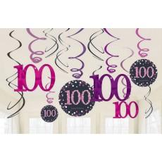 100th Birthday Pink Celebration Swirl Hanging Decorations Pack of 12