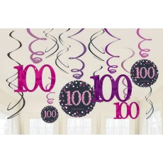 100th Birthday Pink Celebration Swirl Hanging Decorations