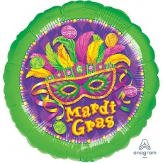 Round Mardi Gras Standard XL Masquerade Foil Balloon 45cm