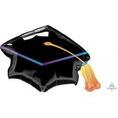 SuperShape Black Graduation Cap Shaped Balloon 78cm x 55cm