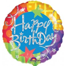 Happy Birthday Blitz Standard Holographic Foil Balloon