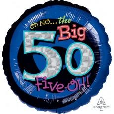 50th Birthday Standard Holographic Foil Balloon