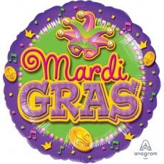 Round Mardi Gras Standard XL Foil Balloon 45cm