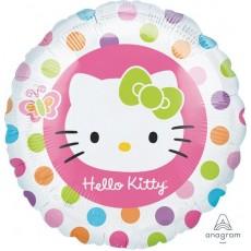 Round Hello Kitty Standard HX Rainbow Dots Foil Balloon 45cm