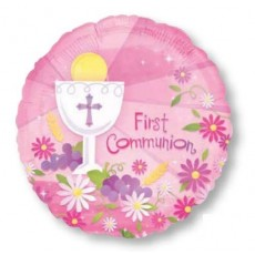 First Communion Pink  Foil Balloon