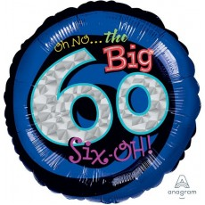 60th Birthday Standard Holographic Foil Balloon