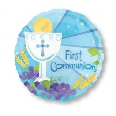 First Communion Blue  Foil Balloon