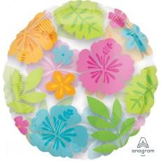 Hawaiian Luau Standard See-Thru Wild Isle Flowers Shaped Balloon