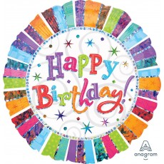 Happy Birthday Radiant Standard Holographic Foil Balloon