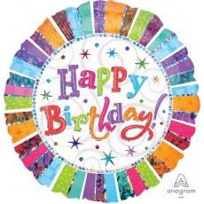 Happy Birthday Radiant Jumbo Holographic Shaped Balloon