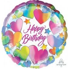 Happy Birthday Sparkle Hearts Standard HX Foil Balloon