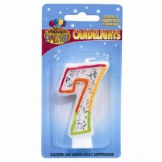 Number 7 Rainbow Candlelights Candle