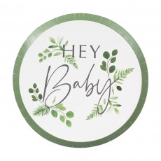 Botanical Baby Paper Hey Baby Dinner Plates 24cm Pack of 8