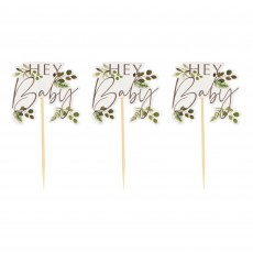 Botanical Baby Hey Baby Cake Toppers 11.5cm x 14cm Pack of 12