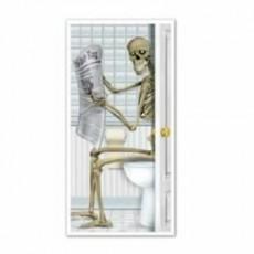 Halloween Party Supplies - Door Decorations - Skeleton Restroom Toilet
