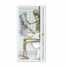 Halloween Skeleton Restroom Toilet Door Decoration
