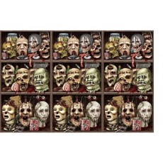 Halloween Scary Zombie Heads Backdrop Scene Setter