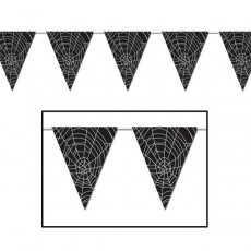 Halloween Party Supplies - Pennant Banners - Spider Web