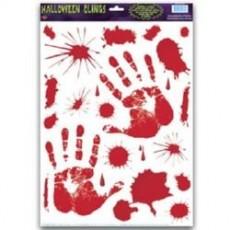 Halloween Bloody Splatters & Handprints Peel N Place Clings Misc Decorations