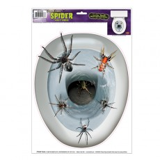Halloween Spiders in the Toilet Seat Topper Sticker