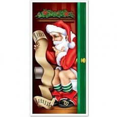 Christmas Santa Restroom Toilet Door Decoration