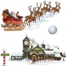 Christmas Santa's Sleigh & Workshop Insta-Theme Props Wall Decorations