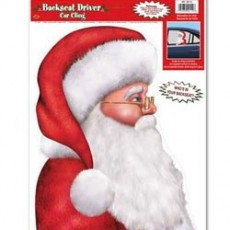 Christmas Party Decorations - Santa Backseat Driver Window Cling