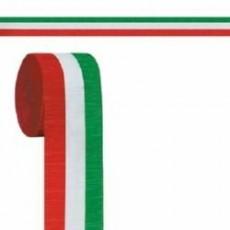 Red, White & Green Multi Colour Paper Crepe Streamer 6cm x 9m