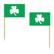 St Patrick's day White Shamrock on Green Flag Party Picks