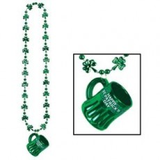 St Patrick's day Beer Mug & Shamrock Beaded Necklace Jewellery