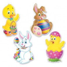 Easter Duck, Chick & Bunnies Cutouts