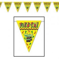 Mexican Fiesta Plastic Pennant Banner