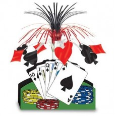 Casino Night Playing Cards & Poker Chips Cascade Centrepiece